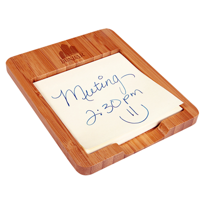 Engraved promotional bamboo sticky note holders from Engraver's Den
