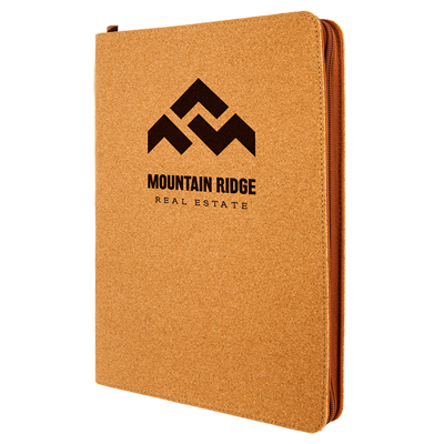 Engraved promotional zipped portfolio notebooks from Engraver's Den