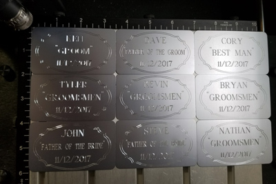 Engraved wedding tags, Engraver's Den