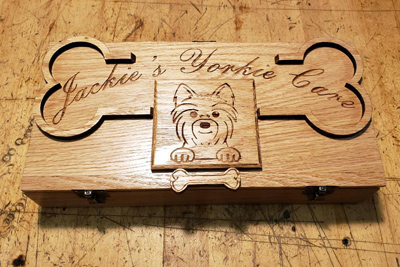 Top of Engraved Wooden Syringe Box for Dog
