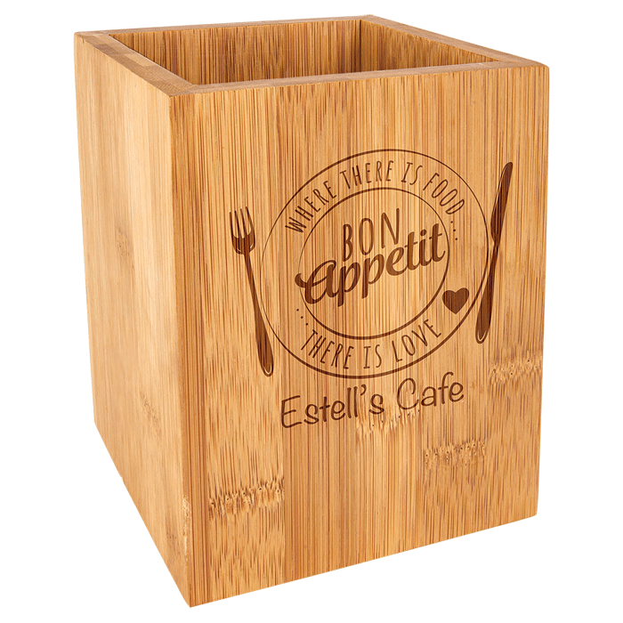Custom engraved wooden restaurant box from Engraver's Den